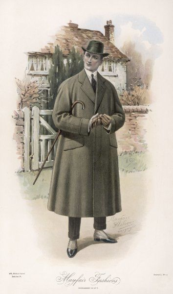 A gentleman dressed for the country in a 'slip' ('slip- on' or 'slip- over') - a roomy overcoat with raglan sleeves, a fly-front & pocket flaps