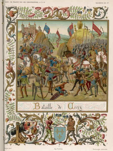 At CRECY, 9000 English soldiers under Edward III defeat 30,000 French under Philippe VI - a triumph of the English strategy of bowmen against cavalry