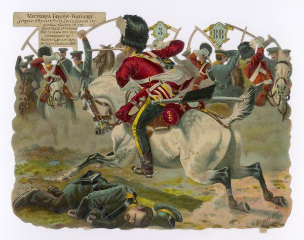 Sgt.H.Ramage of the Scots Greys goes singlehanded to the aid of a trooper assailed by Russian cavalrymen. He was awarded the Victoria Cross