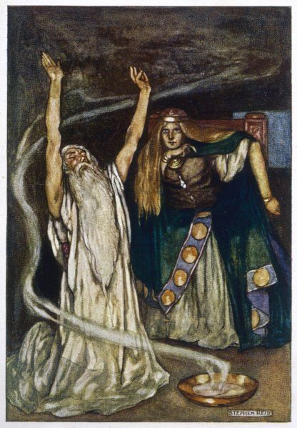 The Druid warns Maeve about Cuchulain (Cu Chulainn)