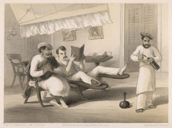 A resident with his Hindustani teacher - why is the man in the foreground opening a bottle of wine ?