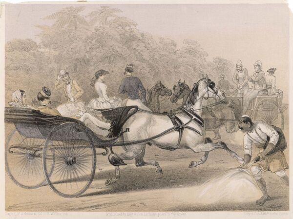 Horses and carriages charge down the 'mall' (the principal thoroughfare) of the Station