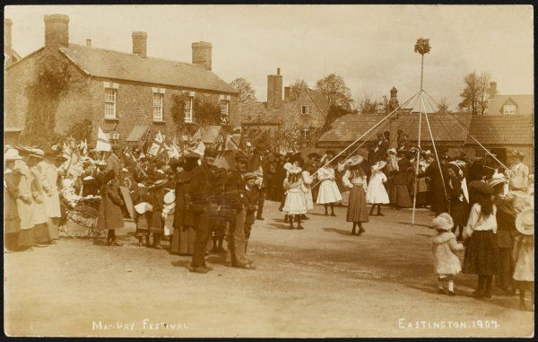May-Day festival, with portable maypole, at Eastington, Gloucestershire