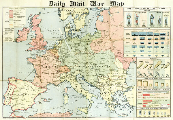 A fold out war map issued by the Daily Mail in the early weeks of the First World War