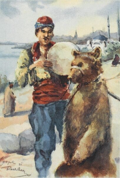 A dancing bear and musician