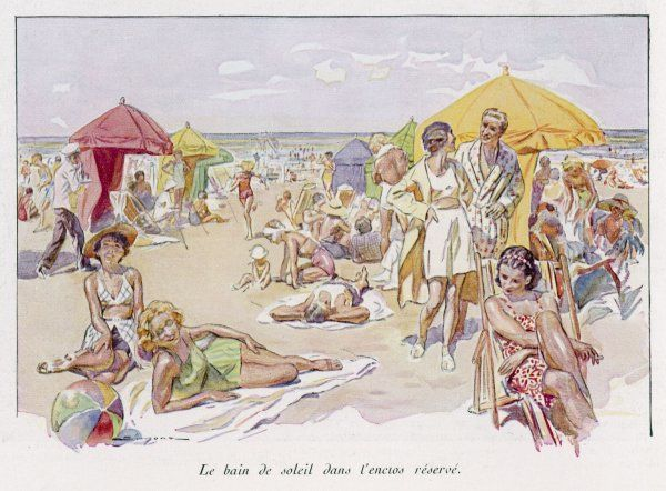 A beach scene at the French resort of Deauville