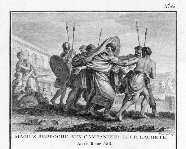 SECOND PUNIC WAR : Decius Magius of Capua reproaches his countrymen's cowardice in accepting Carthaginian domination without resistance, and siding with Hannibal's forces rather than staying loyal to Rome