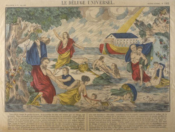 THE DELUGE. Victims of the flood try to find safe ground while Noah sails by in his Ark
