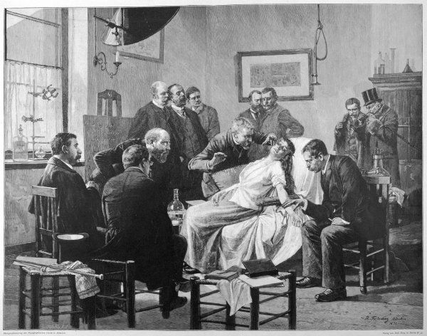DEMO AT MUNCHEN. German doctors observe a demonstration of hypnotism at Munchen