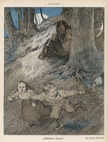 Three German children encounter a demon in the woods, and run away in terror