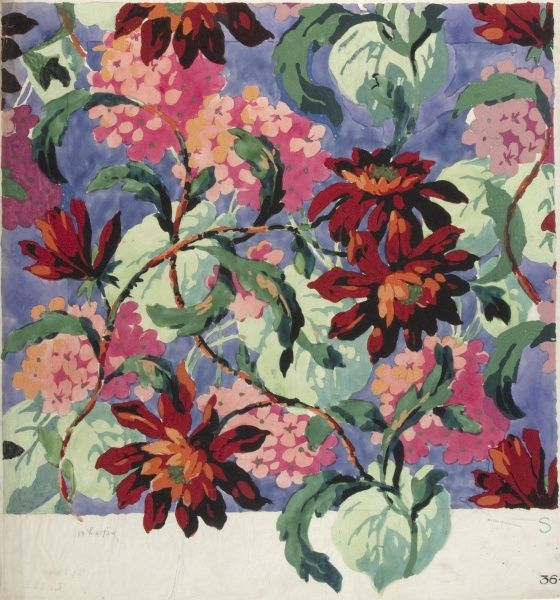 Design for Printed Textile with flowers. Watercolour and Gouache on detail paper. Silver Studio.  circa 1925