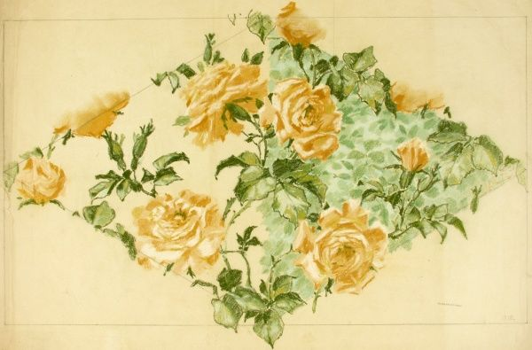 Design for Textile or Wallpaper with yellow roses. Pencil, coloured chalk and Gouache on detail paper. Silver Studio.  1894
