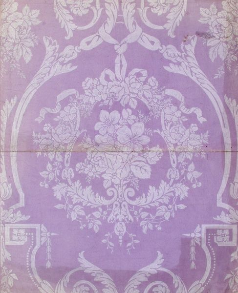 Design for Wallpaper in mauve and white. Gouache on drawing paper. Silver Studio.  circa 1920