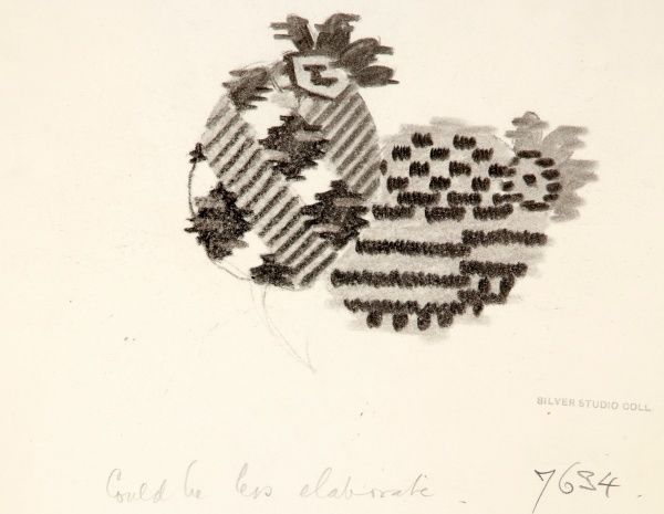 Design for Woven Textile with oval shapes. Charcoal on copy paper. Silver Studio.  1932
