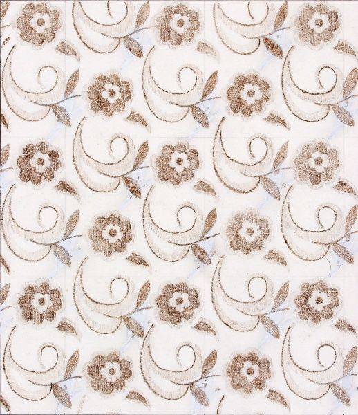 Design for Woven Textile with small brown flowers. Colour Pencil and Gouache on copy paper. Silver Studio.  1938