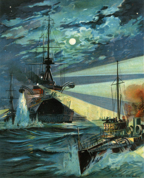 Destroyers attacking a Battleship by night. Date: circa 1910s