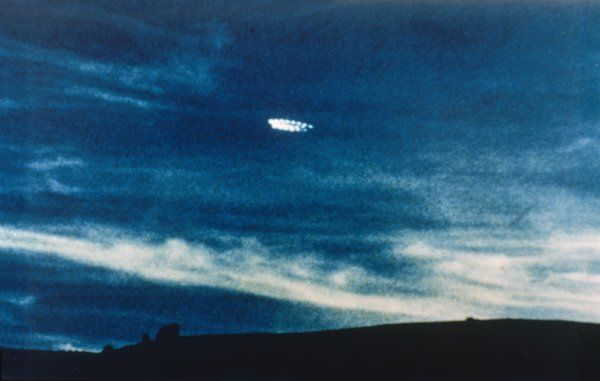UFO comprising a ring of lights, photographed in the evening sky by Fred and Phyll Dickeson of Timaru, New Zealand