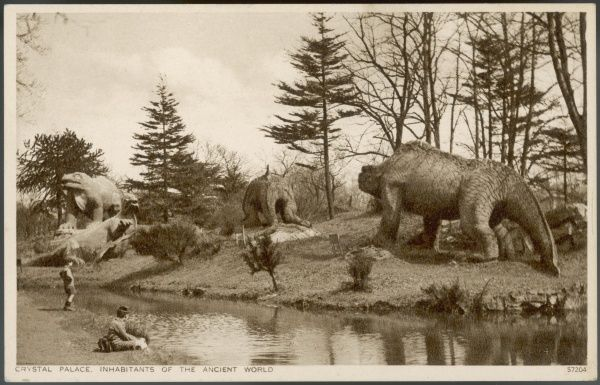Dinosaur models in the grounds of the Crystal Palace, Sydenham (London) created by Waterhouse Hawkins