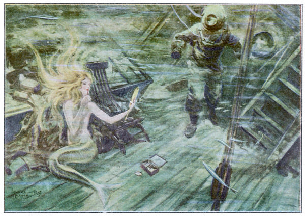 DIVER AND MERMAID. A diver exploring a wrecked ship has an unexpected encounter