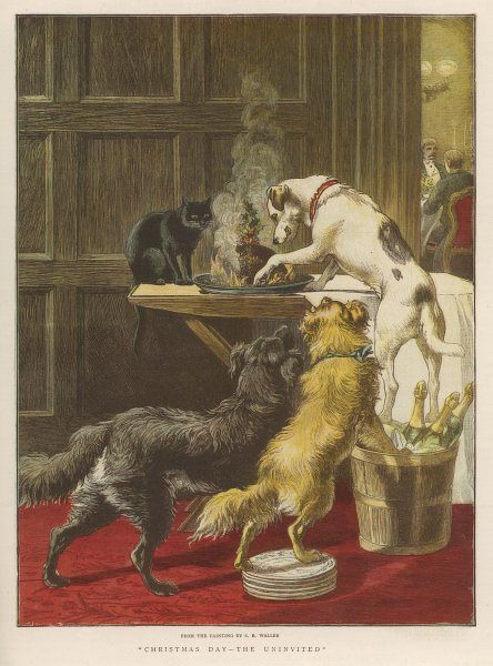 Three dogs - watched by the cat - help themselves to Christmas Pudding, while in the dining room the party are still at the turkey stage, unaware of the crime