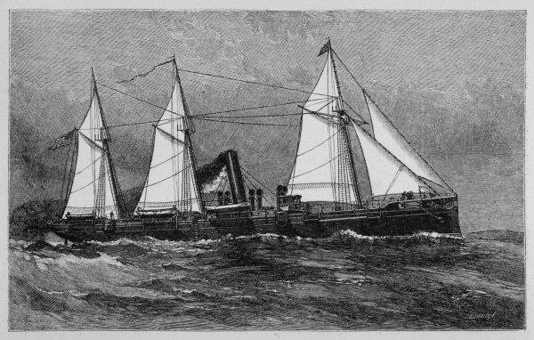DOLPHIN STEAMER. American despatch boat, with sails as well as its steam engines
