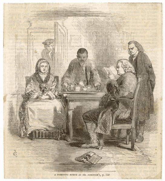 DR SAMUEL JOHNSON At home - with Mrs Williams, Francis and Levett; Boswell is about to enter the room