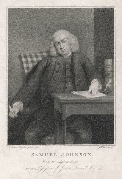 DR SAMUEL JOHNSON English writer, lexicographer, critic and conversationalist at his desk with pen in hand in 1756