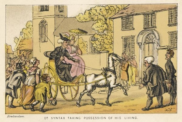 Doctor Syntax taking possession of his living - entering his drive in a horse and cart with a lady with a parasol by his side