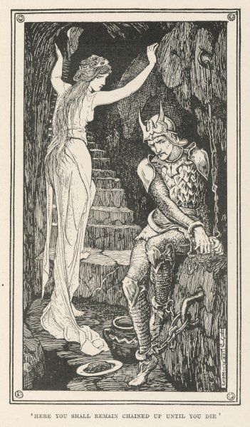 The young prince is chained in a prison cell (where he remains for seven years) by the wicked witch-maiden. (German story)