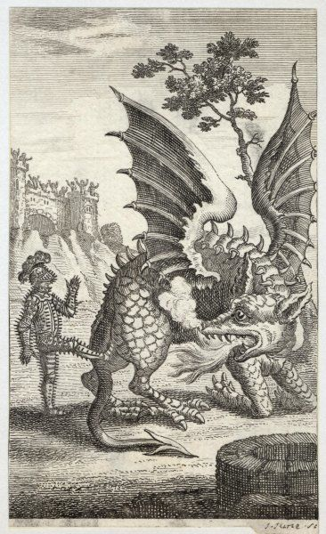 THE DRAGON OF WANTLY receives a kick from an armoured man so, rather more effectively, he breathes fire at him