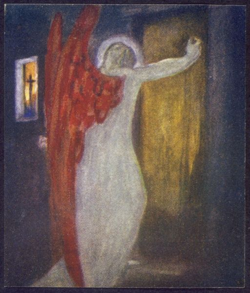 A Visitant is knocking his dire summons at my door'. (Frontispiece) ~First published: 1866~Illustration by Robert T Rose to John Henry Newman's 'Dream of Gerontius', c.1914 edition.~dream,of,gerontius,books,newman,the,dream,of,gerontius,first