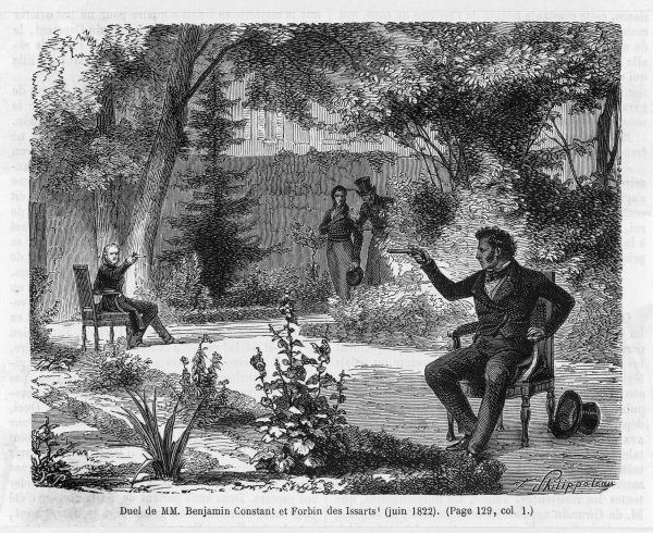 Duel with pistols between Benjamin Constant and Forbin des Issarts - firing from chairs