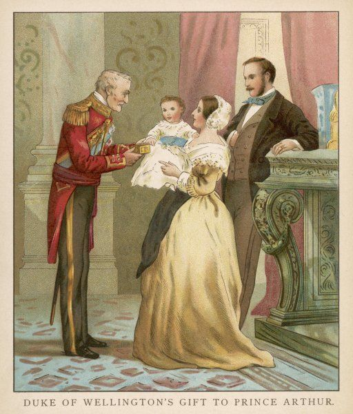 DUKE OF WELLINGTON Victoria and Albert with prince Arthur and his godfather, the Duke of Wellington, in 1850