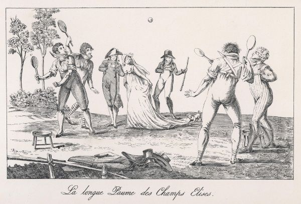 Early French Tennis. An early game of tennis played in the Champs Elysees, Paris