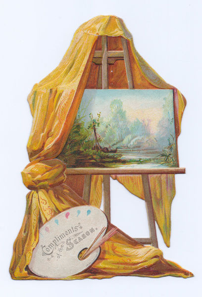 Easel and artist's palette on a Christmas card