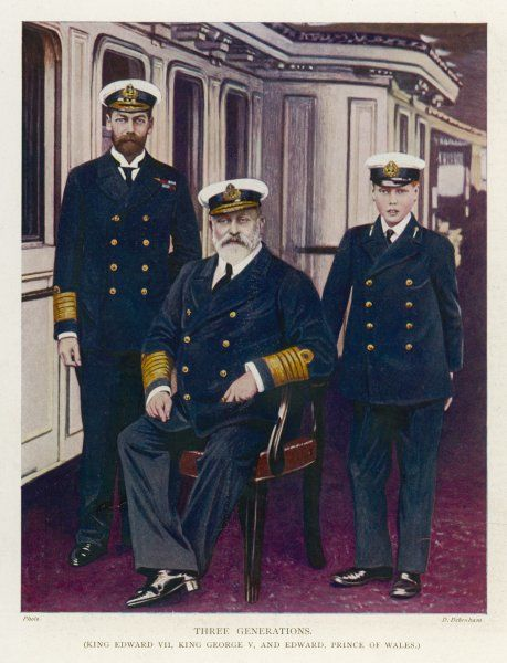 EDWARD VII with his son GEORGE (later George V) and his grandson EDWARD (later Edward VIII) on the deck of the Royal Yacht 'Britannia'