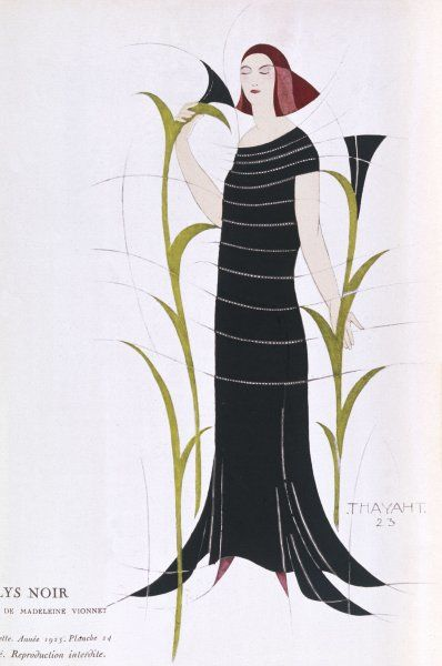 Black dress by Madeleine Vionnet inspired by recent archaeological discoveries in Egypt: tubular long bodice with horizontal bands, gored skirt with handkerchief hem