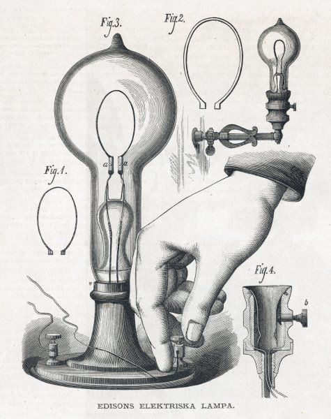 Edison's electric lamp, with the switch that controls it by allowing the current to flow or not, as required. Date: 1880