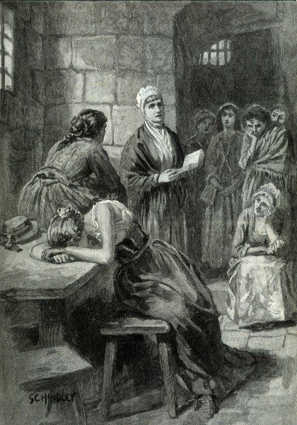 ELIZABETH FRY - Prison reformer, quaker and philanthropist. Here she visits inmates of Newgate Prison