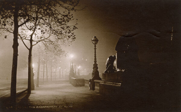 The Embankment at Night - Base of Cleopatra's Needle