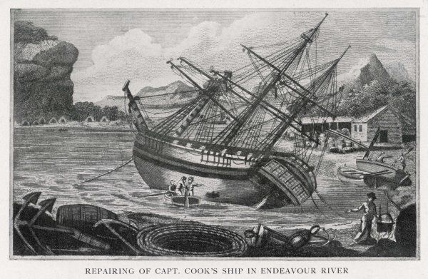 Repairs being carried out on Cook's ship the Endeavour