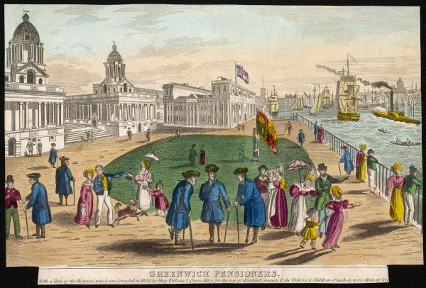 Greenwich Hospital on a fine afternoon, with sightseers and several pensioners with wooden legs : an early steamship passes on the river Thames