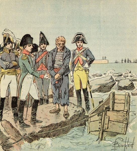 WITH ENGLISH SAILOR. He questions a captured English sailor at the camp of Boulogne