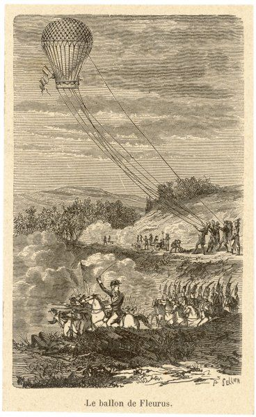 "The French ""Entreprenant"" balloon is used for reconnaissance purposes at the battle of Fleurus - the first use of manned airborne devices in warfare"