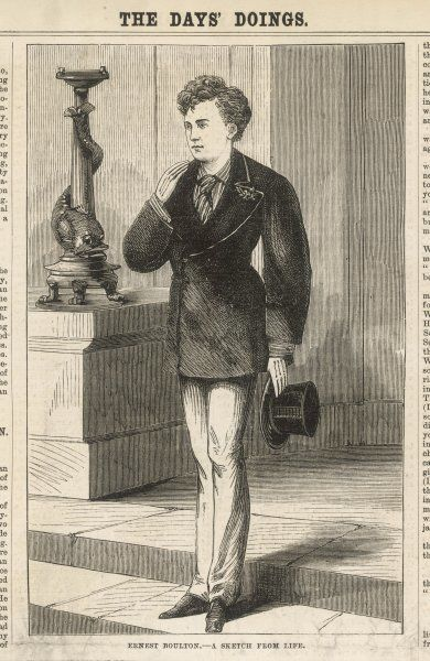 Ernest Boulton, in male attire. Ernest Boulton and Frederick William Park, also known as Stella and Fanny, arrested at the Strand Theatre for incitement to commit an unnatural offence, by going around London at night in women's clothes