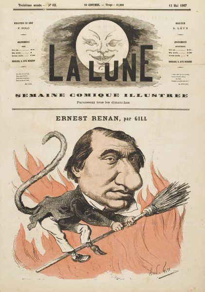 ERNEST RENAN French writer, depicted as a witch among the flames of hell because perceived as an enemy of the Church