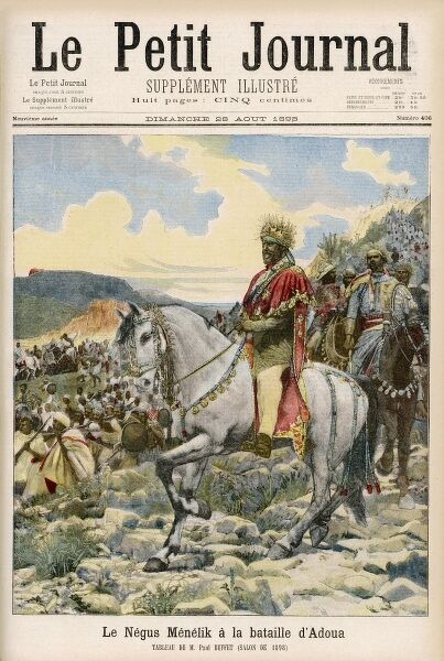 The Negus Menelik II at the battle of Aduwa, where the Italian invaders under general Baratieri were routed with enormous loss