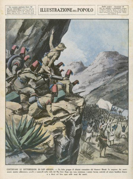 Surprised while watering their horses and camels in a valley, a large Ethiopian force surrender to the Italians