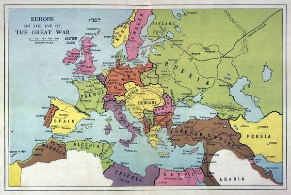 The map of Europe on the eve of World War One