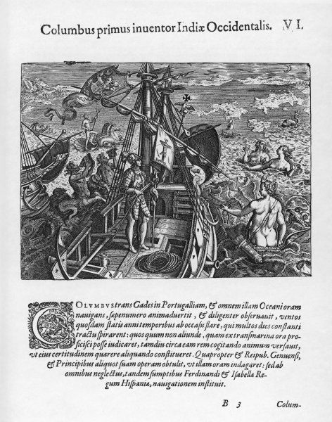 Columbus on his way to the New World - an allegorical depiction
